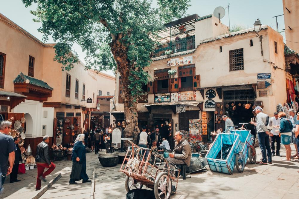 Fez Medina plaza shops souk