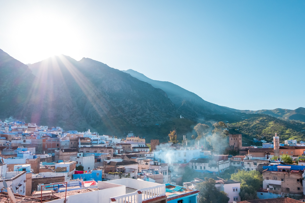Chefchaouen rooftop mountain view sunrise