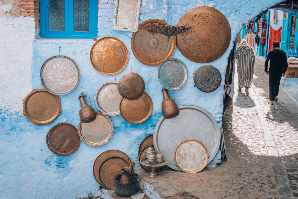Chefchaouen Blue Copper trays