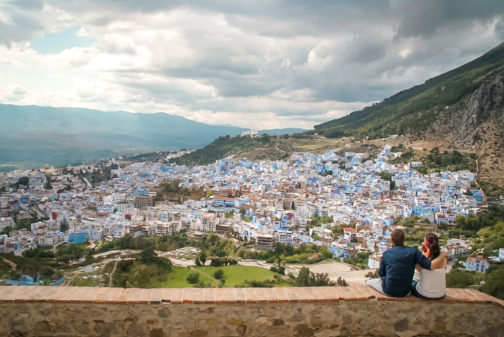 Sunset Chefchaouen Village view hilltop Couple