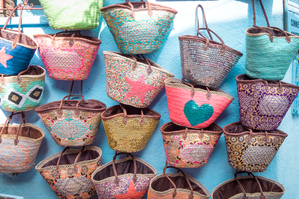 Blue walls sequin baskets