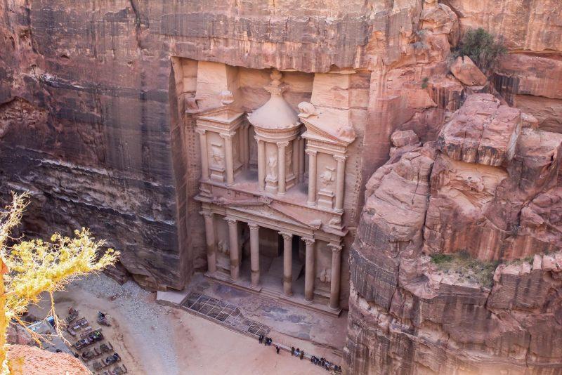 Jordan Itinerary - Petra Treasury from above - Places to visit in Jordan