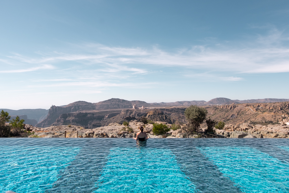 Oman Itinerary - Jabel Akhdar - Anantara Swimming pool - Places to visit in Oman